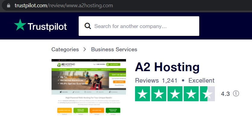 Trustpilot A2 Hosting Review